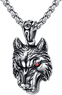 LineAve Men's Stainless Steel Tribal Wolf Pendant Necklace