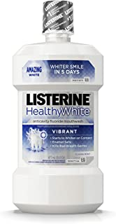 Listerine Healthy White Vibrant Multi-Action Fluoride Mouthwash, Foaming Anticavity Oral Mouth Rinse For Whitening Teeth &...