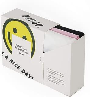 BAGGU Standard Reusable Shopping Bag 3-Pack, Eco-friendly Ripstop Nylon Foldable Grocery Tote, Thank You Set