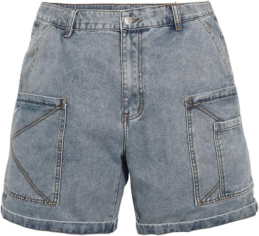 Men's Shorts Multi-Pocket Tooling Denim Shorts Men's Summer Washed and