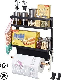 BOKIOVIN Magnetic Fridge Spice Rack Organizer Storage Holder Kitchen, Magnetic Paper Towel Holder Rack for Refrigerator Shelf Storage Hanger (Medium, Black)
