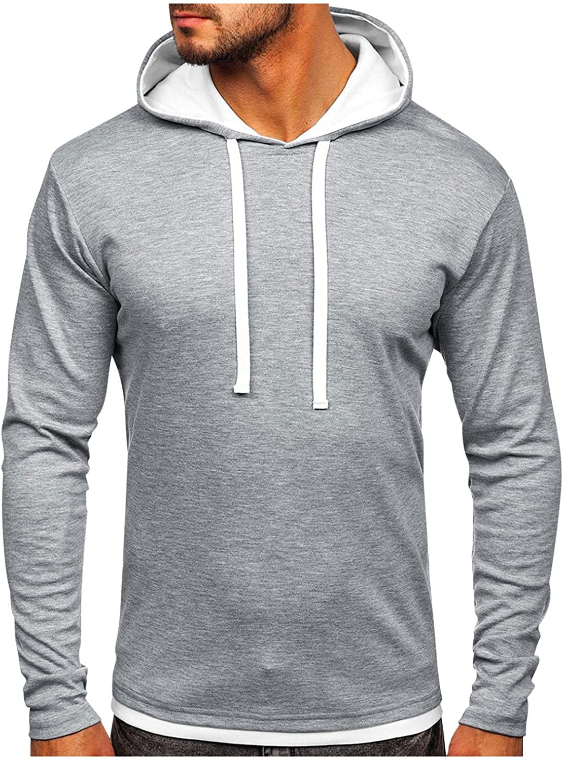 Men's Standard Pullover Sweatshirts Hoodies Long Sleeve Athletic Fashion Solid Color Lightweight T Shirt Hooded Tops