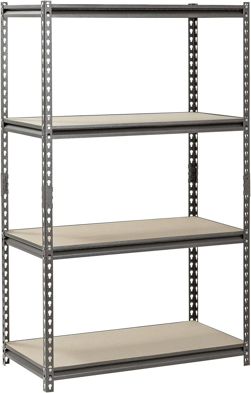 Muscle Rack 5-Shelf Steel Shelving, Silver-Vein Wood, Metal Adjustable Shelves