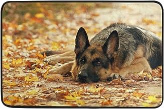Mydaily German Shepherd Dog Autumn Leaves Doormat 15.7 x 23.6 inch, Living Room Bedroom Kitchen Bathroom Decorative Lightw...