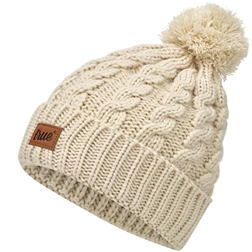 TRUE VISION Womens Beanie Hat - Chunky Cable Knitted Bobble Hat 2 x  Detachable Pom Poms 0f96f629c36