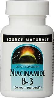 Source Naturals Niacinamide 100mg Vitamin B3 Supplement - Flush Free - 100 Tablets