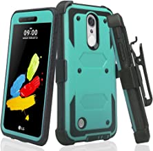 LG Phoenix 4/Zone 4 /LG Aristo/Aristo 2/Aristo 3/Aristo 2 Plus/Tribute Empire/Rebel 4 LTE/Rebel 3/Fortune 2 Case Belt Clip Holster Shock Proof w/ [Built in Screen Protector] - Teal