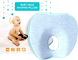Bunzuu™ Baby Head Shaper Pillow – Ergonomic Memory Foam, Prevents and Corrects Flat Head Syndrome, w/Free Washable Organic Cotton Cover, for Age 0-12 Months, Perfect Baby Gift (Blue)