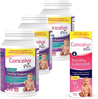 CONCEIVE PLUS Women's 3 Month Supply | Prenatal Vitamins + Fertility-Friendly Lube | Conception Fertility Support Supplement (3 x 60 Capsules + 2.5 Ounce Fertility Lubricant)