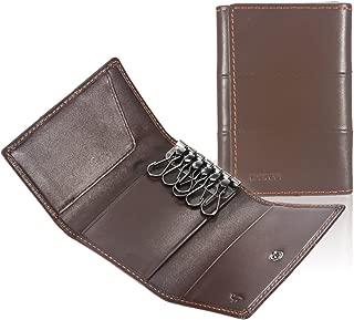 Ikepod Tri-fold Key Wallet/Holder [Full-grain Leather] 6 Hooks & 2 Card Slot