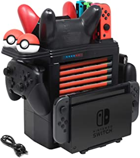 FYOUNG Charging Dock for Nintendo Switch, Charger Stand for Nintendo Switch Pro controllers Joy-Cons and Pokeball Plus Controller, Storage Tower Controller Charger for Switch Accessories