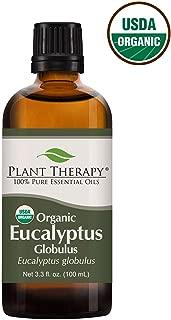 Plant Therapy Eucalyptus Globulus Organic Essential Oils 100% Pure, USDA Certified Organic, Undiluted, Natural Aromatherapy, Therapeutic Grade 100 mL (3.3 oz)