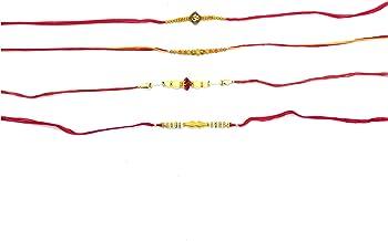 Set of 4 Rakhis Proficient Enterprises Assorted Rakhi Bracelets ,Indian Rakshabandhan Festival,Rakhi Threads,Rakhi Bracelets