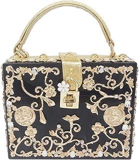 Clutch-Tasche für Damen, Blumen-Design, Acryl, Bankett, Clutch, elegante Handtaschen, luxuriöse Umhängetasche, Farbe: Schw...
