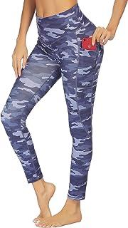 COOrun Women's Soft Running Exercise Pants Compression Leggings Squat Proof Workout Tights Hidden Pocket (Camo,XL)