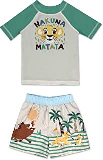 Infant Boy Authentic Character 2 Piece Rash Guard and Swim Trunk Set UPF 50