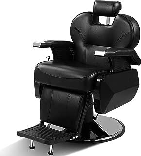 Heavy Duty Black Barber Chair Reclining All Purpose Hydraulic Salon Equipment for SPA Hair Cut Stylist and Tattoo Shop
