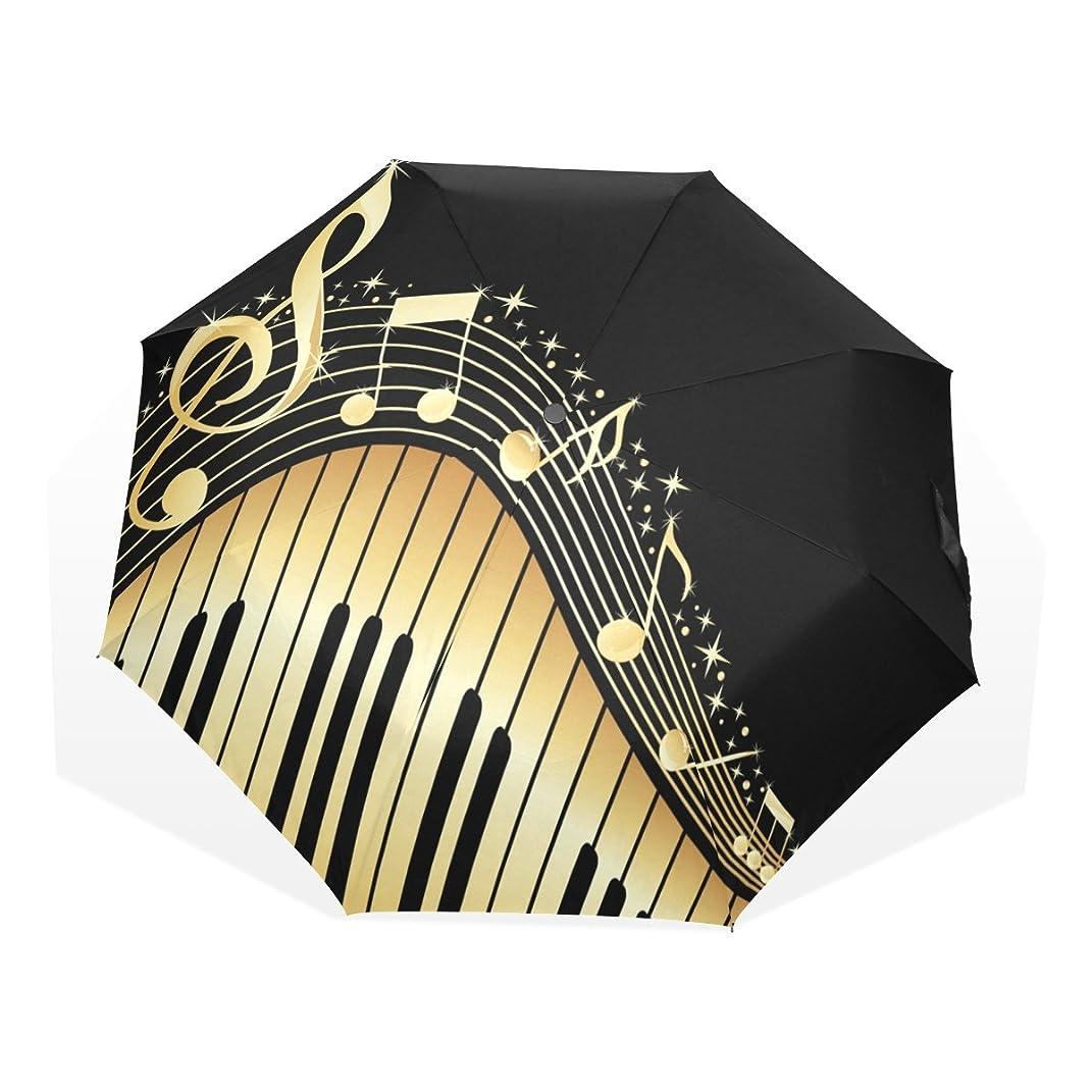モノグラフ乏しい受動的VAWA おりたたみ傘 軽量 手動開閉 おしゃれ かわいい 音楽 音符 楽譜 五線譜 鍵柄 キー 折り畳み傘 雨傘 レディース 晴雨兼用 8本骨 収納ケース付き