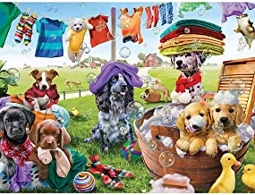 """Bits and Pieces - 500 Piece Jigsaw Puzzle for Adults 18""""X24"""" - Puppies Playing - 500 pc Dog Jigsaw by Artist Adrian Chesterman"""