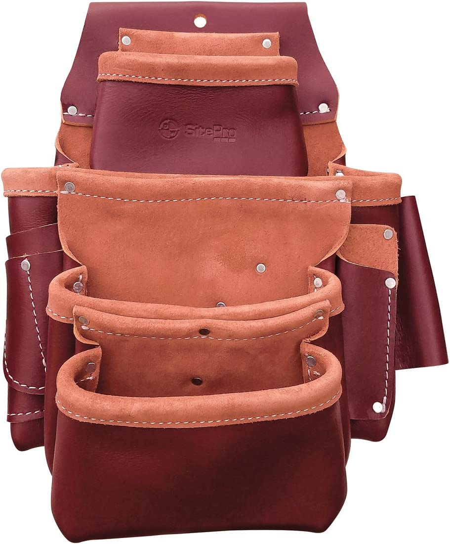 SitePro 51-15062 4-Pouch Pro 百貨店 Fastener Bag Leather 買物