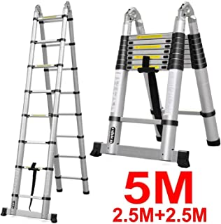 Luisladders 16.5 FT Aluminum Telescopic Extension Ladder Multi-Use Telescoping Ladder 330 Pound Capacity