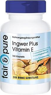 Jengibre 600mg en Cápsulas - Vegano - Extracto de raíz de Jengibre con Vitamina E - Alta pureza - 180 Cápsulas