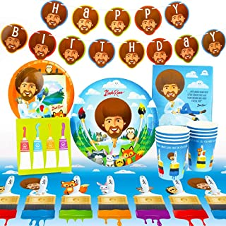 Bob Ross and Friends Party Supplies (Standard) Birthday Party Pack, 66 Piece Set, by Prime Party