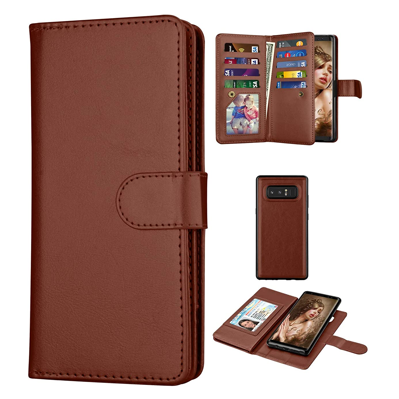 Galaxy Note 8 Case, Tinysaturn [Ypul Series] Wallet Flip Pouch Magnetic Kickstand PU Leather Full Protective with 9 Card Slots [Wrist Strap] Bumper Cover Case for Samsung Galaxy Note 8 (Brown) icv1562449