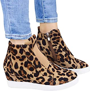 Mafulus Womens Wedge Platform Sneakers Perforated High Top Side Zipper Fashoin Booties