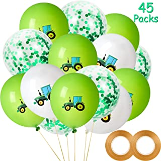 45 Pieces Green Tractor Birthday Balloons Green Confetti Latex Balloon and 2 Rolls Gold Balloon Ribbon for Farm Theme Birthay Baby Shower Party Decoration