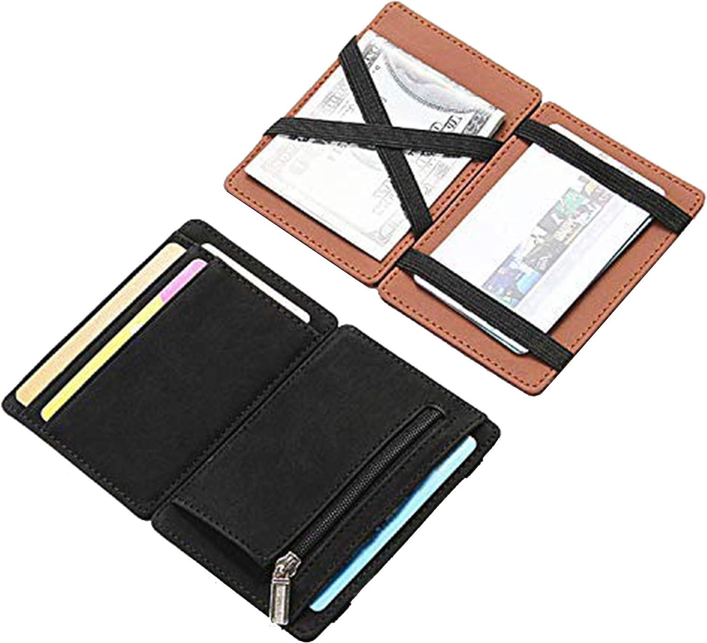 Fida&Moon Men Magic Wallets Male PU Leather Zipper Coin Purse Pouch Plastic Credit Bank Card Case Holder