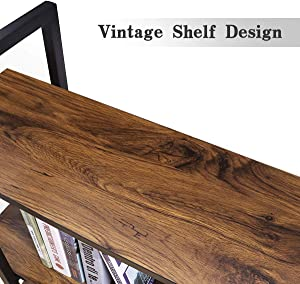 Homemaxs Bookshelf 3 Tiers Modern Bookcase, Industrial Metal Frame and Wooden Open Book Shelf for Home and Office Storage Rack