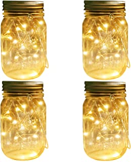 Mason Jar Solar Lights Lanterns, 4 Pack 30 LEDs Fairy Firefly Led String Lights with Glass Mason Jar,Best for Wedding Garden Patio Outdoor Solar Powered Hanging Lanterns(Jars & Hangers Included)