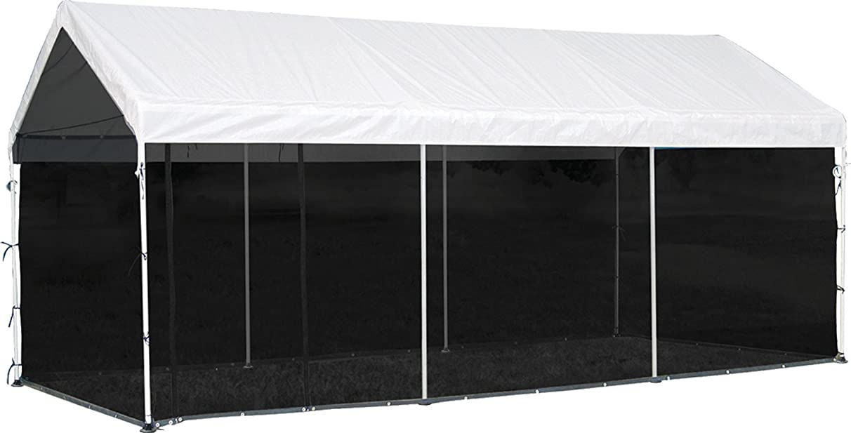 ShelterLogic MaxAP 2-in-1 Canopy with Screen Kit, White, 10 x 20 ft.