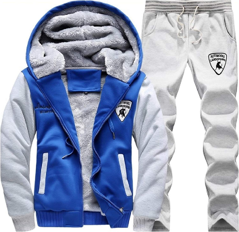 Coolhere Men Warm Standardfit Zipper Plus Velvet Hood Two Pieces Tracksuits
