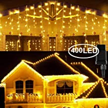 Hezbjiti 8 Modes LED Icicle Lights, 32.8 FT 400 LED 75 Drops Fairy String Lights Plug in Extendable Curtain Light String Christmas Lights for Bedroom Patio Yard Garden Wedding Party (Warm White)