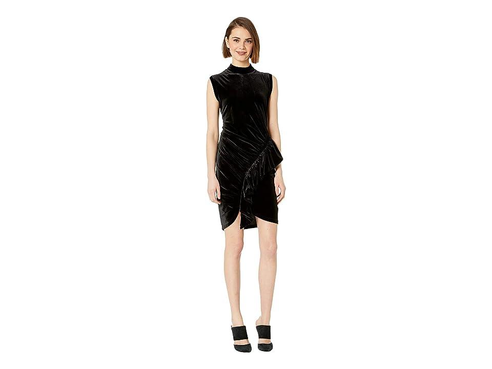 Bebe Mock Neck Ruffle Dress (Jet Black) Women