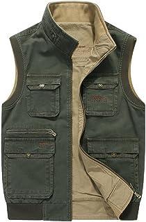 XiaoTianXinMen XTX Mens Multi Pocket Fishing Vest Photographer Mesh Cotton Denim Outdoor Waistcoat