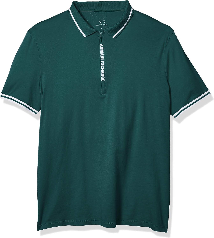 AX Armani Exchange Men's Zipper Logo Placket Short Sleeve Jersey Polo Shirt