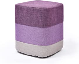 Yxsdd Creative Square Pier Stool,Foot Stool Wooden Change Shoe Stool,Pouffe Chair Ottoman Removable Linen Cover Seat Uphol...