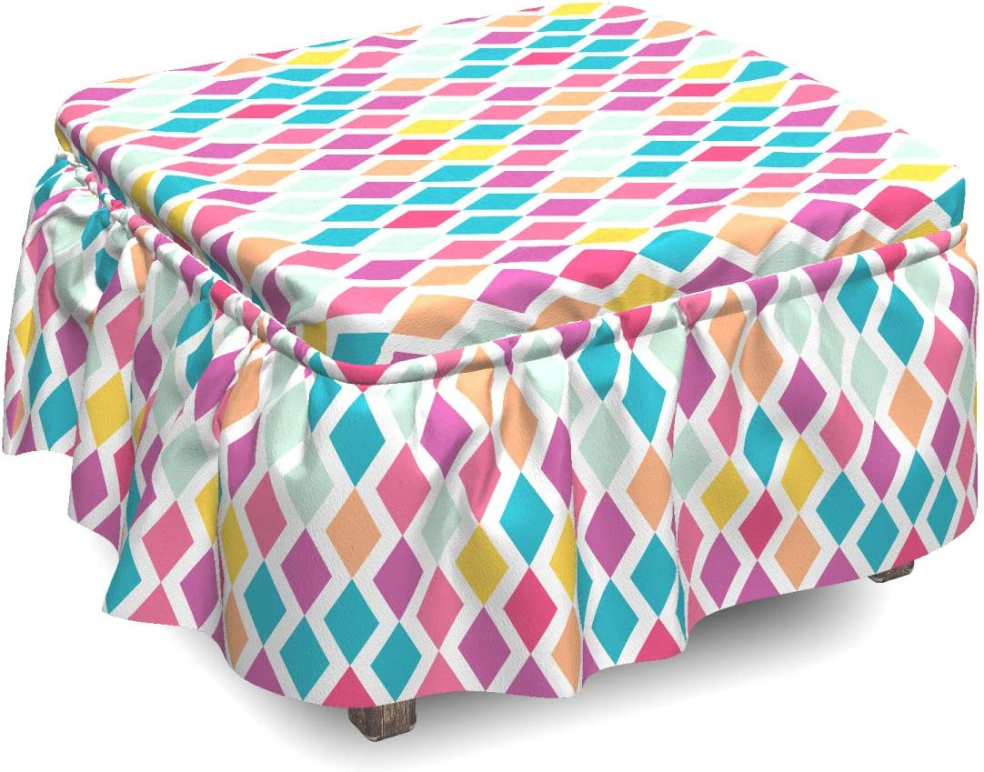 Ambesonne OFFicial mail order Geometric Ottoman Product Cover Rhombus Abstract Pi 2 Shapes