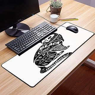 Comfortable Mouse Pad 60x35 cm,Dibujo moderno, negro del gato del cráneo del mago de la fortu,Impermeable con Base de Goma Antideslizante,Special-Textured Superficie para Gamers Ordenador, PC y Laptop