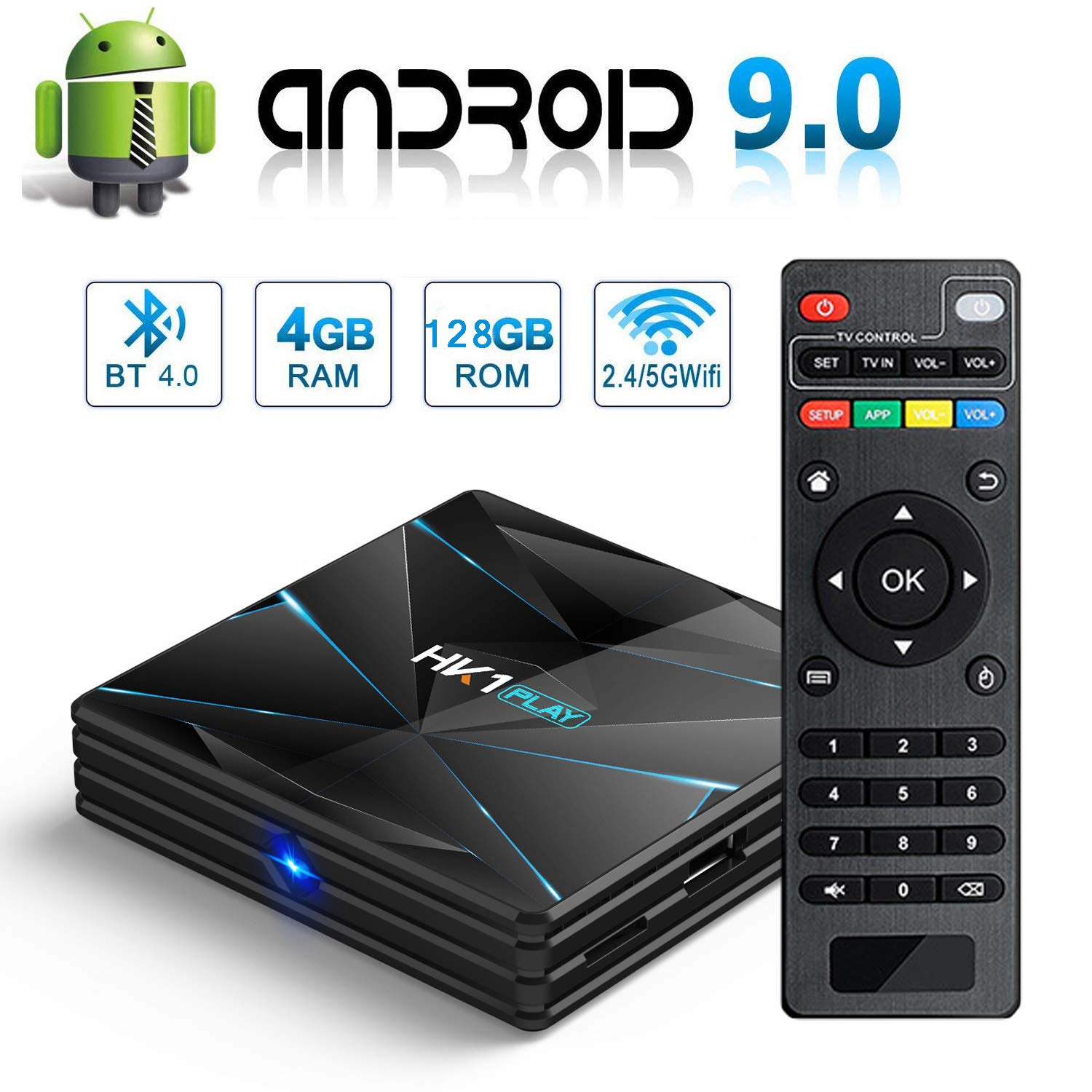 TV Box Android 9.0, Smart TV Box 4GB RAM 128GB ROM Amlogic Quad Core S905X2, Dual WiFi 2.4G / 5G BT 4.0 Ethernet H.265 USB 3.0 3D Soporte 4K Ultra HD Media