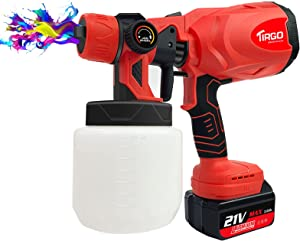 Cordless Paint Sprayer, HVLP Paint Spray Gun with 2 Rechargeable 3.0Ah Battery, 4 Nozzles, 3 Patterns, 800ml Container High Power Paint Sprayers for Home Furniture, Fence, Car, Bicycle