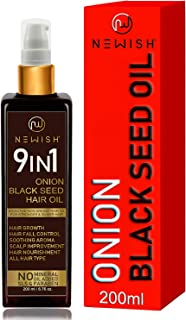 Newish® Onion Black Seed Hair Oil for Hair Growth for Men and Women (Kalonji Oil) Dandruff & Hairfall Control 200 ml