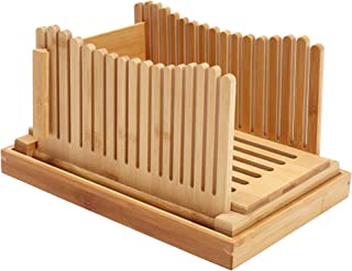 Trancheuse à pain en bambou, trancheuse à pain pour pain maison - Pliable et compacte avec plateau à miettes - Coupe-pain ...