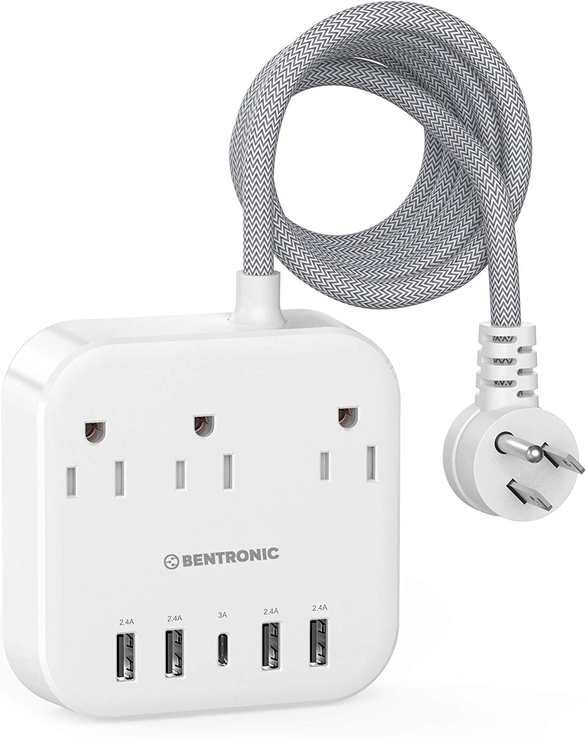 Power Strip with USB C , 5 USB Ports (25W/5A), Safe Shutter , Desktop Fast Charging Station , Flat Plug 5ft Braided Extension Cord , Ideal for Travel Ship , Home and Office , ETL Listed.
