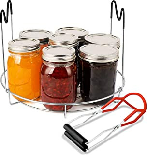 Canning Rack, Stainless Steel Steaming Canning Jar Rack with Silicone Heat Resistant Handle and Canning Lifter Tong for Ja...