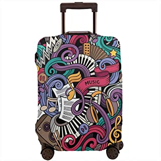 Travel Luggage Cover,Music Hand Drawn Abstract Instruments Microphone Drums Keyboard Stradivarius Suitcase Protector