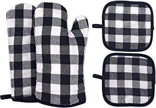 Heat Resistant Oven Mitts and Pot Holders,BBQ Gloves with Non-Slip Surface for Safe Kitchen Cooking Baking Grilling (Black)